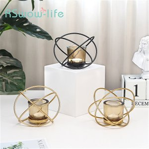 European Creative Iron Metal Crafts Geometric Candlestick Home Living Room Bedroom Desk Decoration Glass Candle Holder