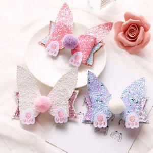 Orejas ins encanto 15pcs Moda de oídos de Glitter Bowknot de las horquillas de Pom Pom animales pinzas de pelo del arco de Pascua princesa Headwear