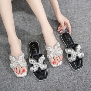 ExKX8 grande formato calza le donne 2019 nuova estate raffreddano i sandali online e pantofole per flatsandals rosso strass esterna i pistoni di una linea pUywn