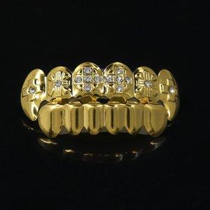 Хип-хоп Золото вампира Зубы Grillz, ГОРЯЧИЙ Diamante острых зубов грилей, дешевые золото обшивки зубы Grillz GR7128005