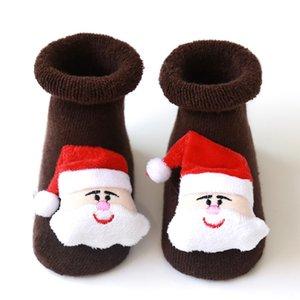 Navidad del bebé antideslizante piso del calcetín infantil 0-3 años de algodón de Santa piso calcetines de silicona antideslizante del niño del calcetín LJJA1507