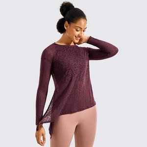 Semi Sheer Side Slit Yoga Tops Soft Cotton Moisture-wicking Long Sleeve Workout Gym Shirts Casual Daily Tees For Women