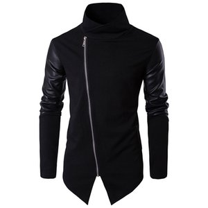 2020 New Spring Men Cotton Warm Slim Hoodies Leather Stitching Clothes Solid Color Sweatshirts Stand Collar Outerwear Tops Y
