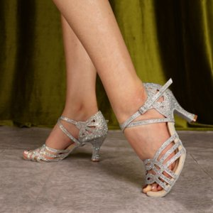 Chaussures argent pour Ballroom Dancing femme flash tissu colocalisation service strass chaussures de danse latine Femmes Flare Place Talon