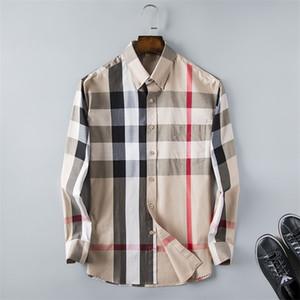 Negócio dos homens de marca camisa casual mens manga longa listrado slim apto camisa masculina social camisa nova moda designer xadrez camisa 235