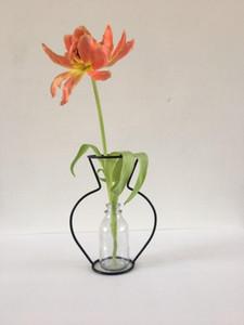 Creative Retro Iron Line Flowers Vase Metal Plant Holder Modern Solid Nordic Styles Iron Vase Home Art Garden Decor without Glass Bottle