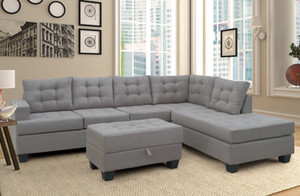 Sofa 3-Piece Sectional Sofa with Chaise Lounge and Storage Ottoman L Shape Couch Living Room Furniture(Gray) SM000049EAA