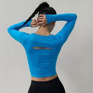 Zhangyunuo Yoga manica lunga lombare Backless sexy T-shirt da donna Gym Fitness Hollow attivo Crop Wear Sports parti superiori sexy di allenamento Top