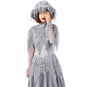 2020 British style Skeleton Ghost bride Wedding dress Parent-child dress Halloween Roles Play cosplay costume
