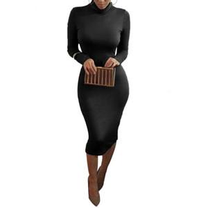 İlkbahar Sonbahar Kim Kardashian Seksi Uzun Kollu Kalem Kadınlar BODYCON Giydirme Plus Size Turtlenack Midi Bandaj Parti Elbise Femme