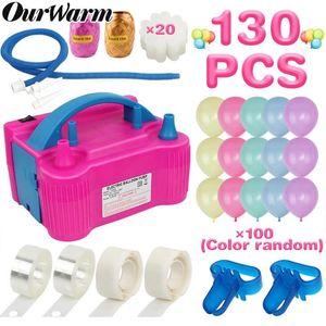 Ourwarm Elektrikli Balon Pompası Şişirme Çift Delik Taşınabilir Hava Üfleyici Eu / ABD Plug Nozul Hava Kompresörü Ballons Aksesuarları