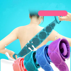Trendy New Style 4 Colors Silicone Back Exfoliating Massage Brush Long Double-Sided Strong Exfoliating Bath Towel Bath Tools
