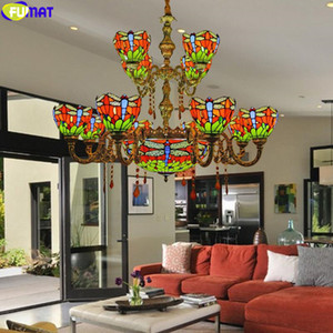 FUMAT Tiffany Multi Heads Double Layer 8+4 Chandeliers Lamps Stained Glass Colorful American European Mediterranean Nordic Style