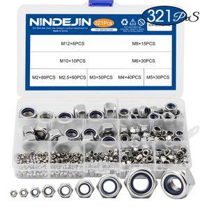 321pcs Nylon Lock Nut acciaio inox 304 M2 M2.5 M3 M4 M5 M6 M8 M10 M12 Hex esagonale autobloccante Dado Assortimento Kit