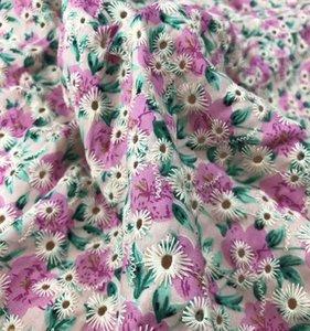 pura tela del vestido de novia de encaje calado blanco de algodón tela bordada tela bordada GH01 algodón del vestido de la tela