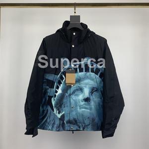 20SS Mens Designer Veste de poche de luxe à capuche Vestes Hommes Marque Veste coupe-vent New Men Manteau d'extérieur Statue de la Liberté Streetwear