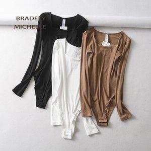 Bradely MICHELLE 2020 Sexy Frauen dünne lange Hülsen-Baumwolle übersteigt Bodysuits mit verstecktem Knopf