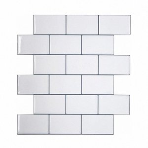 Vividtiles más gruesa blanca metro Azulejos despegar y pegar azulejos de la pared palo en Entrepaños de cocina para el parachoques 1 Hoja X0Ci #