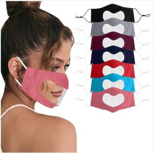 Lip Language Mask Leopard Visible Deaf Mute Face Mask Heart Shaped Transparent Dustproof Hanging Ear Loop Face Cover DDA437