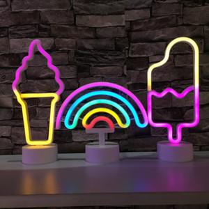 LED USB Neon Sign Décoration Unicorn Flamingo Moon Lamp Rainbow Kid Accueil Salle de chevet Veilleuse Décor Lumière pour les enfants