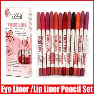 Menow 12 개 색상 섹시한 아이 라이너 립 스틱 다기능 Lipliner 립 라이너 펜슬 매트 누드 Lipsliner 펜 세트 미용 메이크업 도구 화장품