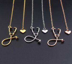Мода медицинского сплава ювелирных изделий Я люблю тебя Сердце ожерелье Стетоскоп Ожерелье для Nurse Доктор ювелирных изделий подарка Оптовая