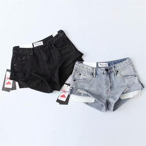 Pockets High Waist Shorts Solid Color Fashion Pants Womens Summer Designer Sexy Ripped Denim Hot Pants Cuffed