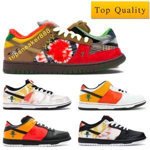 Dunk SB Low Raygun Sneakers Shoes 최고 품질 남자는 Raygun 타이 염료 블랙 어떤 인과 신발 Raygun 타이 염료 화이트와 박스 크기 36-45 신발