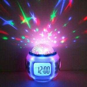 Cgjxsmusic Starry Star Sky Digital Led Projection Projector Alarm Clock Calendar Thermometer