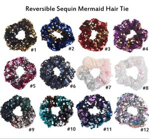 2020 Girls Mermaid Sparkly Sequins Scrunchies for Hair Eleastic Bands Hair Scrunchy Hair Ties Ropes Ponytail Holders Rubber Bands for Girls