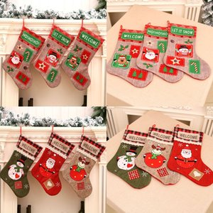 Large Creative Christmas Stocking Santa Claus Snowman Decoration for Home Christmas Tree Ornaments Gift Holders Stockings
