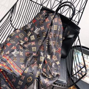 diseñador de seda largo de la bufanda de las mujeres calientes de la venta de la marca impresa letra bufandas chales de pashmina verano grande Hijab bufandas para damas 180x90cm