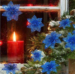 Искусственные свадебные рождественские цветы с блестками пуансеттия Рождественская елка украшения 3.9Inches 10см Artifical цветок DHL доставка