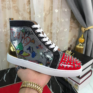 Men Red Bottom Casual Shoes Flat Spikes Red Soles Suede Leather Women Fashion Low Top Leisure Shoes With box Party Outdoor