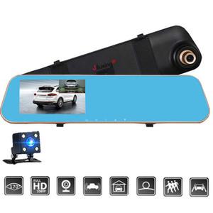كاميرا H01S HD 1080P سيارة DVR اثنين من الكاميرات سيارة مرآة الرؤية الخلفية السيارات الفيديو Registrator مسجل عدسة مزدوجة Dashcam