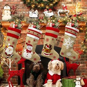 Grande taille Christmas Party Stocking Hanging chaussettes ornement d'arbre Décor chaussettes cadeau Candy Bag Stocking Nouvel An Prop Chaussettes Décoration de Noël