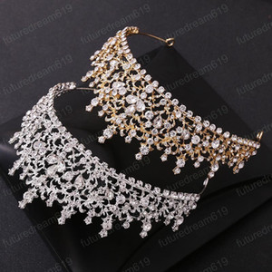 Luxury Handmade Gold Silver Color Tiara Baroque Rhinestone Crown Women Girls Headpeice Bride Wedding Headband Hair Accessory