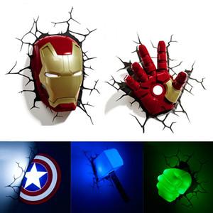 Marvel Avengers LED cabecera del dormitorio sala de estar 3D creativo lámpara de pared decorado con luces luz de la noche