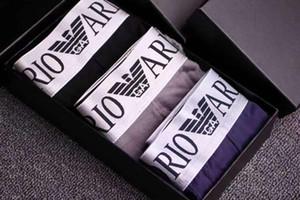 ARMANI 3PCS / Lot hommes sous-vêtements Boxer de haute qualité se sépare sur creux modales conçoivent des bourses sous-vêtement de sexe masculin hommes cueca hommes BOXE