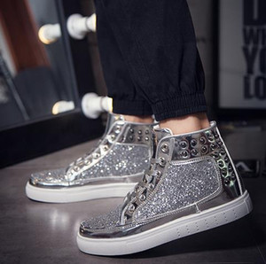 2020 Spring Autumn mens womens designer Boots flats Casual Martin Shoes Men Fashion Male Bling Rivet Boots Trendy Outdoor Leather size 36-44