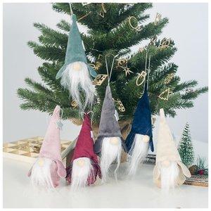 Weihnachten Spitz Baum Plüsch Bart Long Man Ornaments Puppe Ornamente Fünf Puppe Hängende Faceless Flanell Anhänger Stern bbypMv
