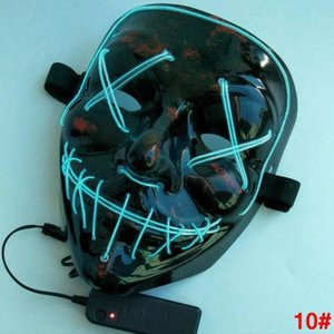 Halloween El Wire Mask Linea Luce fredda Fantasma Orrore mascherina del partito LED Cosplay travestimento di ballo della via di Halloween Rave giocattolo LJJA2812 4N Masq TSBB #