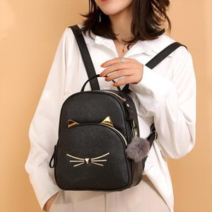Women Rucksack Teenagers Backpack PU Leather School Bags for Girls Cartoon Cat Square Satchel Light Shoulder Bag Mochila Mujer