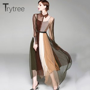 Trytree Summer Casual Sashes Shirt Dress Women Patchwork Multicolor Mesh Double-layers Hem irregular dresses Office Lady Dress