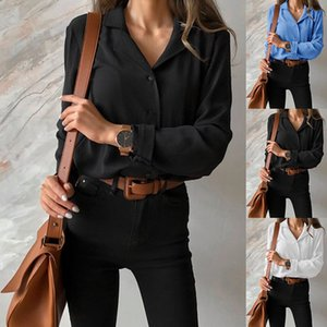 Womens Lapel Neck Long Sleeve Blouses Designer Chiffon Shirts for Woman Fashion Spring Solid Color Female Clothes