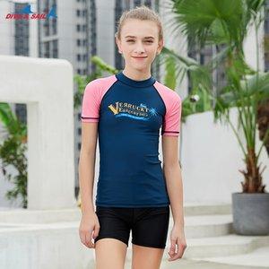 Enfants Jeunes à manches courtes Rash Guard Shirt de natation T UPF 50+ Maillots de bain Protection solaire Hauts Basic peau pour Snorkeling Surf Wetsuit