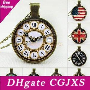 Cadenas nosotros Flag Uk Reloj colgante de los collares el Comprobante de tiempos de la gema de cristal de la vendimia de acero inoxidable de cristal collar Cabochon joyería de la cadena