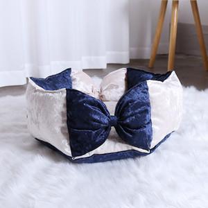 Dog Bed Camas Para Mascotas Haute Elasticité Nest Ronde mignon Bow Princesse Couchette Petit Convient pour Four Seasons