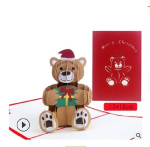 2020 hot sale creative 3D greeting card Birthday Bear Christmas 3D paper carving creative card birthday Valentine's Day card 003