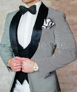 Brand New Houndstooth Groom Tuxedos Shawl Lapel Mens Wedding Tuxedos Fashion Man Jacket Blazer Popular 3 Piece Suit(Jacket+Pants+Vest+Tie)2